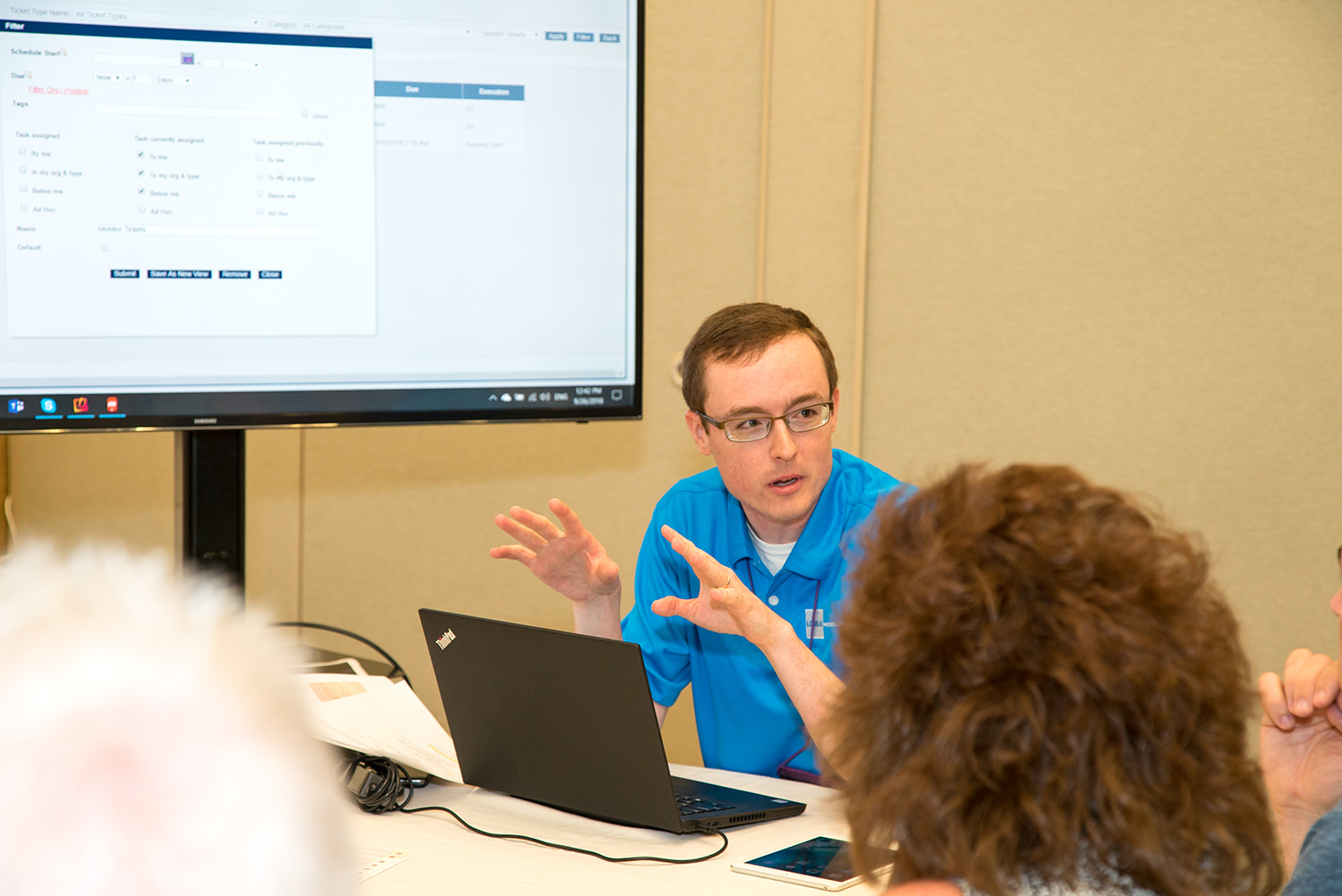 Nathaniel Sheetz of Logile conducts a demo during breakout